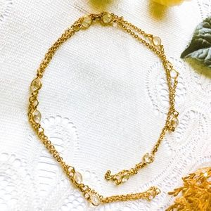 Vintage Long Gold Necklace  with Clear Beads
